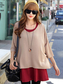 2014 Korean New Arrival Hot Selling Loose Two Piece Maternity Women Suit Pullover Round Neck All Match Women Suit