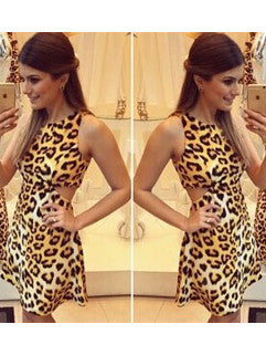 2015 Hot Selling Leopard-Print Sleeveless Club Dress Backless Hollow-out Sexy Dress For Women