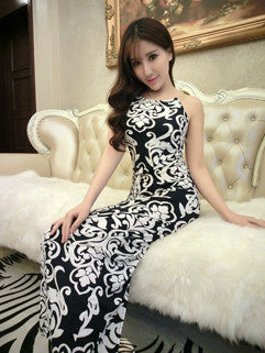 2015 High Quality National Printed Bodycon Sexy And Elegant Strap Maxi Dress