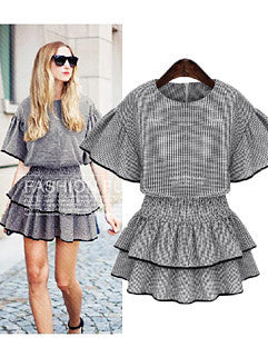 2015 Euro Style Latest Design Classic Plaid Printed Ruffle Bat Sleeve Womenly Dress