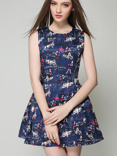 2015 Euro Style Blue Vintage Brand Sleeveless Zip Up Printed Dress For Sale