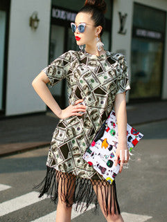 2015 Euro Style Individual Short Sleeve Vertical Pockets Cute Printed Tassel Dress