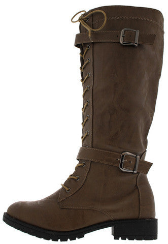 18056 TAUPE BUCKLE COMBAT BOOT