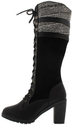 18138 BLACK SWEATER CHUNKY HEEL KNEE HIGH BOOT