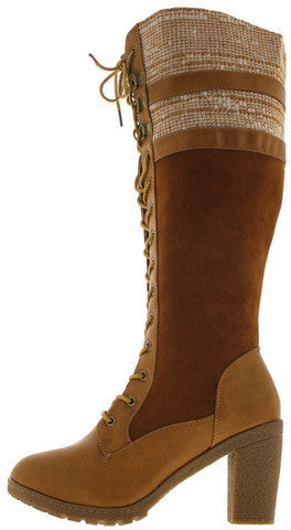 18138 COGNAC SWEATER CHUNKY HEEL KNEE HIGH BOOT