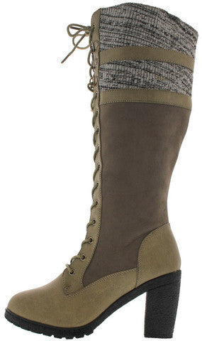 18138 GREY SWEATER CHUNKY HEEL KNEE HIGH BOOT