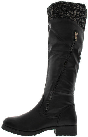 18147 BLACK KNEE HIGH SWEATER RIDING BOOT