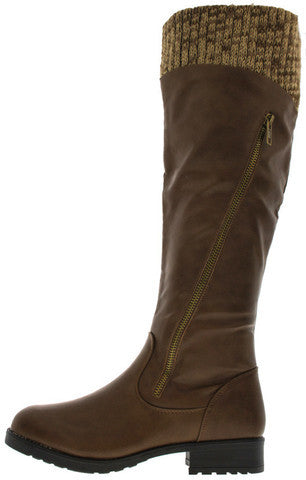 18147 COGNAC KNEE HIGH SWEATER RIDING BOOT