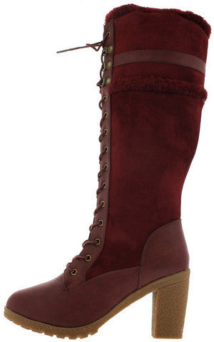 18168 DEEP RED FUR TRIM CHUNKY KNEE HIGH BOOT