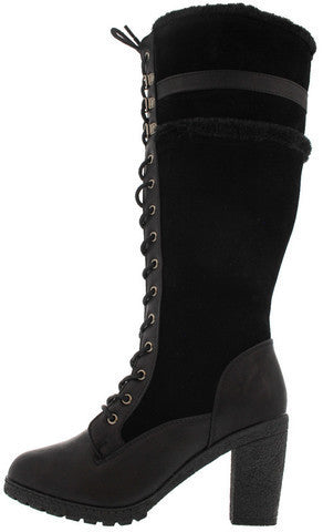 18168 BLACK FUR TRIM CHUNKY KNEE HIGH BOOT