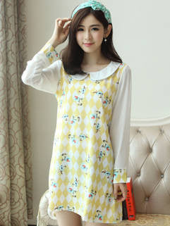 2015 New Arrival Women Dress Casual Loose Floral Printed Princess Dress