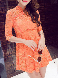 2015 New Arrival Women Short Sleeve Dress Orange Sexy Night Club Clothing