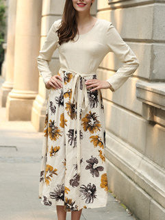 2015 New Autumn Women's o Neck Slim Flax Vintage Floral Printed Long Sleeve Maxi Dress With Sashes