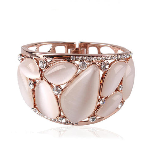 18k rose gold baracelets bangles for women white/color opal vintage wedding hollow brand quality Lenora jewelry Alternative Measures VIENNOIS - Mother's Day Bride Wedding Gift
