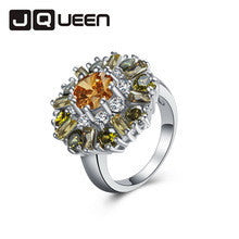 1pc Cute Morganite & White Topaz & Peridot Silver Ring Bijoux Trendy Girl Knuckle Gift Orange Size 7 8 9 10 11 12 Wholesale