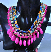 2014 Fashion Jewelry New Arrival Bohemian Crystal Necklaces & Pendants Brand Beaded Chunky Choker Necklace Women Handmade