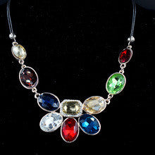 2014 New perfume women Fashion Multi-color Oval Big Crystal Necklaces & Pendants Women Jewelry Statement Collar Necklace