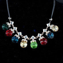 2014 perfume women New Colourful Round Crystal Necklaces & Pendants Fashion Jewelry Statement Collar Necklace