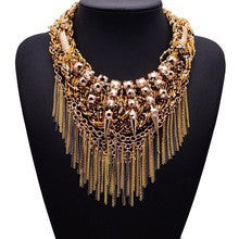 2015 New Arrival XG125 Vintage Necklaces & Pendants Women Long Gold And Silver Tassel Statement Necklace Gothic Crystal Jewelry