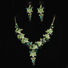 2015 New Fashion Luxury Leaf Green Rhinestone Crystal Necklace Pendant Style Banquet Party Decoration Accessories Free Shipping