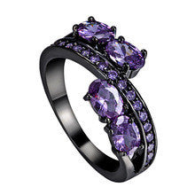 2016 Hot Sale Lady's Black Gold Filled Princess-Cut Luxury Jewelry Amethyst Cubic Zircon Diamond Wedding Ring
