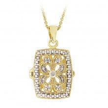 18K Gold over Sterling Silver Diamond Accent Filigree Rectangle Locket Necklace