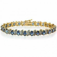 18K Gold over Stelring Silver Tanzanite CZ & Diamond Accent S and Oval Tennis Bracelet