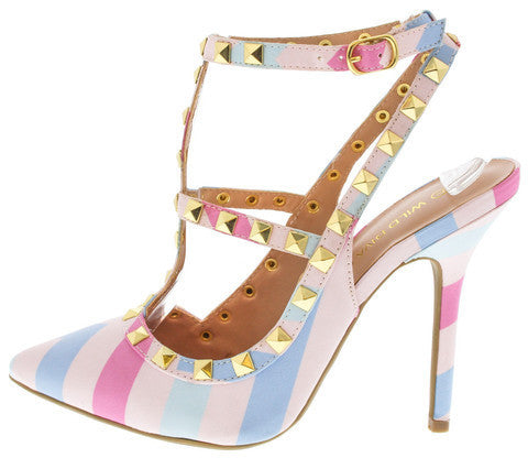 DROPKICKS STOCK ITEM: ADORA63B PASTEL MULTI STUDDED POINTED HEEL