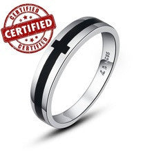 (1 pieces /men) Certified 100% Solid Sterling silver 925 18k gold plated men's Promise Ring 2014 trendy jewelry inchLove Crossinch