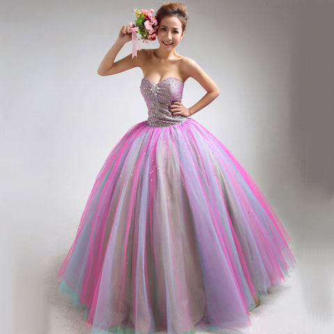 Sweetheart Color Tulle Latest Designs Sequined Evening Gowns Alternative Measures