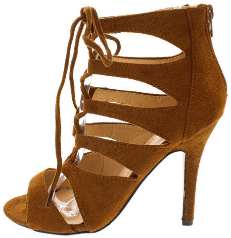 XUXA TAN FAUX SUEDE PEEP TOE CAGED LACE UP HEEL