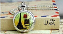 10 piece /lot Enamel silver Paris Eiffel Tower Steampunk quartz Pocket Watch Necklace with chain kisd gift