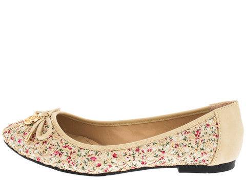ADALIZ BEIGE FLORAL EMBROIDERED BOW FLAT