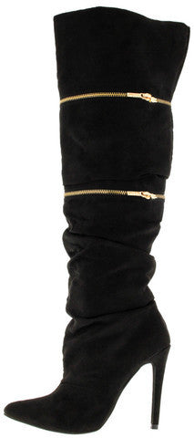 ZARIA BLACK FAUX SUEDE 3 IN 1 POINTED KNEE HIGH BOOT