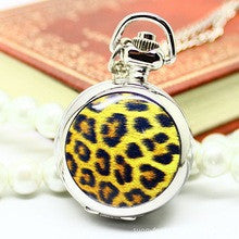 100pcs/lot Hot Fashion Trendsetter Clothing Small Enamel Leopard Dial Pocket Watch Antika Saatler Pocket Watchs Automatic Men