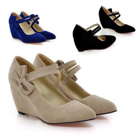 DROPKICKS STOCK ITEM: BEST SELLER Flock Pointed Toe Mary Jane Strap Med Low Wedge Heel Pump Shoe Alternative Measures