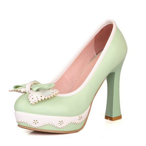DROPKICKS CANADA WHOLESALE FOOTWEAR LIGHT PASTEL MINT GREEN LOLITA-01 HIGH HEEL PUMPS SHOES
