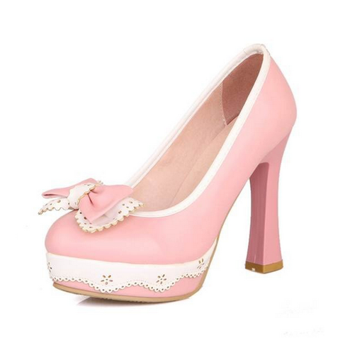 DROPKICKS CANADA WHOLESALE FOOTWEAR LIGHT PASTEL PINK LOLITA-01 HIGH HEEL PUMPS SHOES