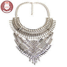 (Jan.1) HALIFE High Quality Women's Luxury White Crystal Stones Maxi Statement Necklace