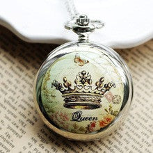 100pcs/lot Large Crown Enamel Table Built-in Large Mirror Pocket Watch Unisex Antique Steampunk Quartz-watch Reloj Bolsillo
