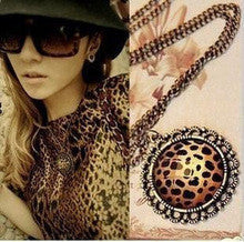 2015 New Arrival Women's Fashion Jewelry Vintage Leopard Print Disc Crystal Necklace Rhinestone Necklaces Wholesale