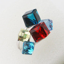 (Min order is $15) 2015 New arrival fancy ring multi-color solid square crystal ringsilver gothic rings jewelry for girls