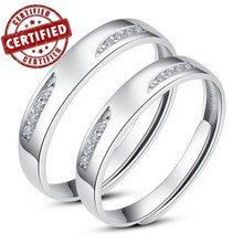 (2 pieces /a pair) Certified 100% Solid Sterling silver 925 Promise 18k gold plated Open engagement Ring sets 2014 new