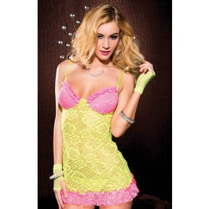 After the Rain Lingerie - Yellow Lace Pastel Chemise Lingerie