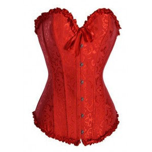 After the Rain Lingerie - Brocade Red Classic BEST SELLER Corset- Discount Price