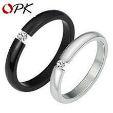DROPKICKS STOCK ITEM: OPK JEWELRY Clearance Sale!! Fashion Black/ White 316L Stainless Steel Men/ Women CZ Diamond Ring Personality lOVE gift 258