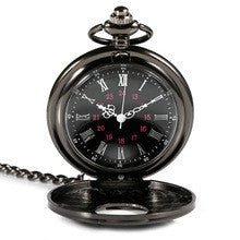 2015 High Rating Roman Retro Vintage Antique Steampunk Pocket Watch Black Men Women Clock Quartz Necklace Pendant Dress Gift