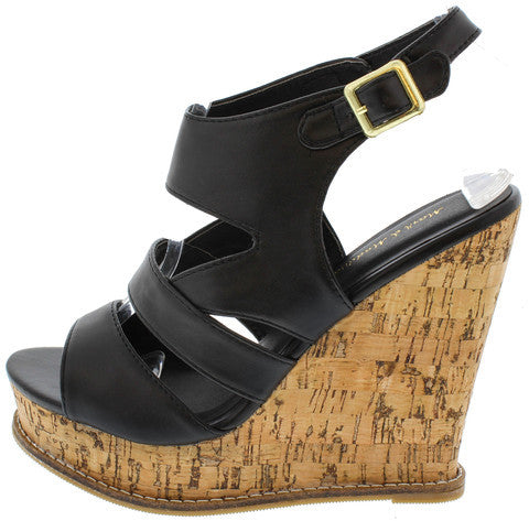 STAN02 BLACK PU SLINGBACK CORK PLATFORM WEDGE
