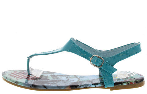 SUZAN1 LIGHT BLUE FLAG TRAVEL PRINT SANDAL