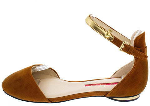 SWOON4 CAMEL GOLD ANKLE STRAP FLAT